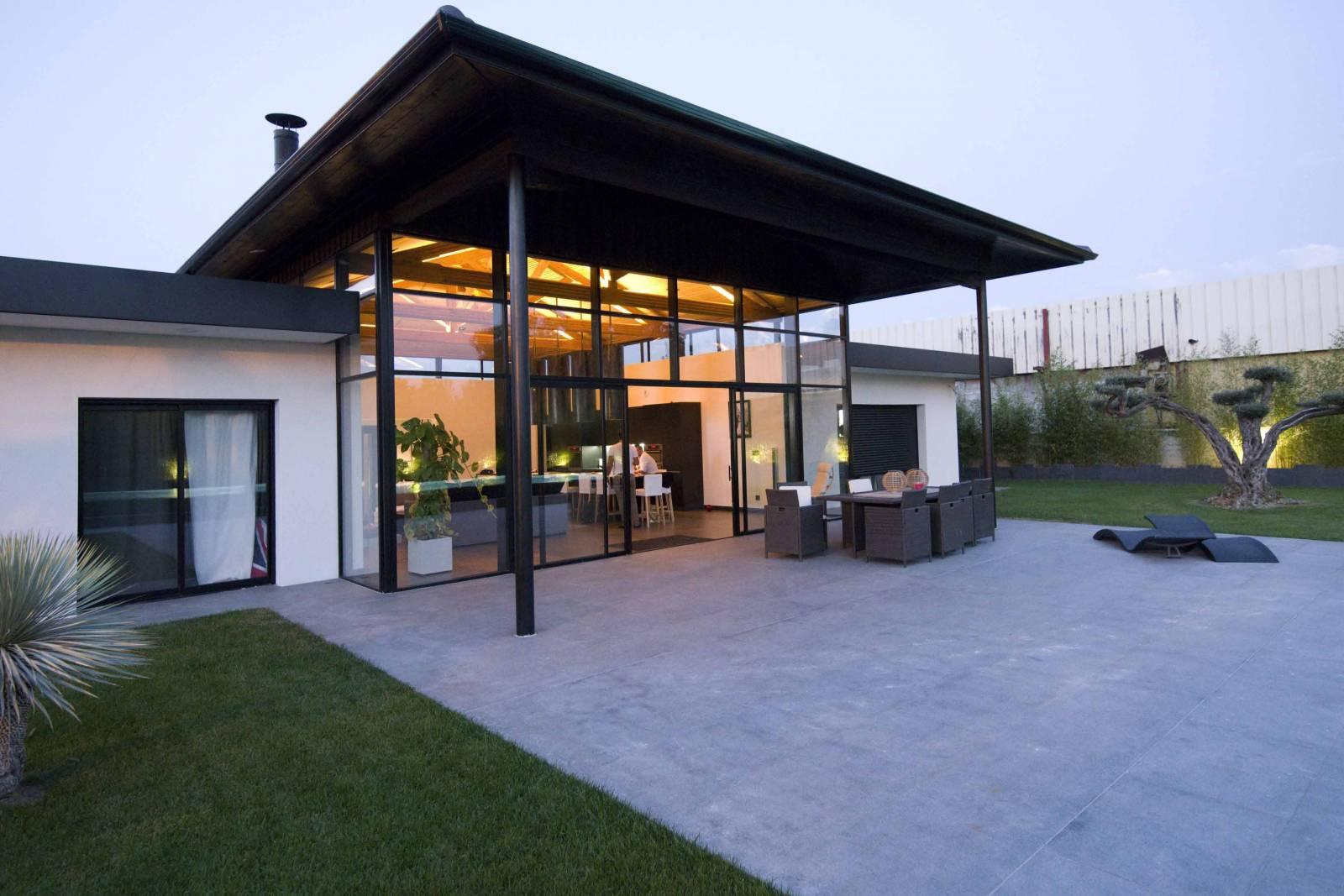Maison Ossature Métallique Contemporaine maison maçonnerie, métal et bois - architecte bordeaux